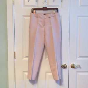 Blush pink silk and linen cropped pants